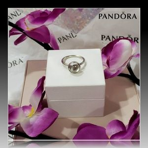 🌺 PANDORA Poetic Droplet Ring, Clear Cz 🌺
